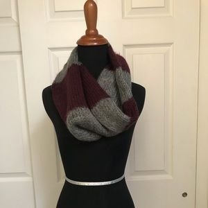 Maroon and Grey Knit Infinity Scarf